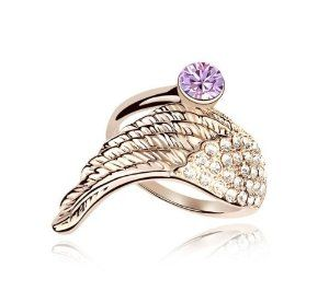 NiceDeco - fashion Ornament Light Purple Swarovski Element Crystal Sparkly Rhinestones Angel Wing Ring , Gift Ring, Party Ring, Engagement Ring