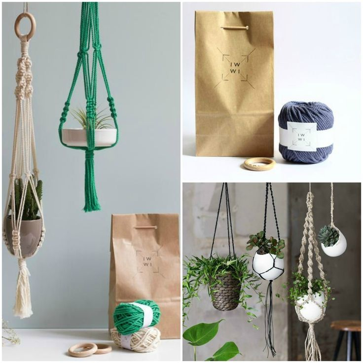 Diy macram tuto suspension projet deco pinterest plant hangers craft and hanger - Faire macrame suspension ...
