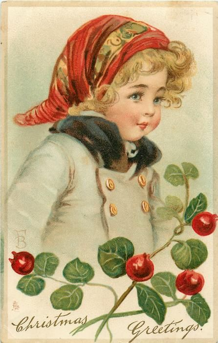CHRISTMAS GREETINGS  Frances Brundage (1854–1937) #Brundage #vintage #postcard
