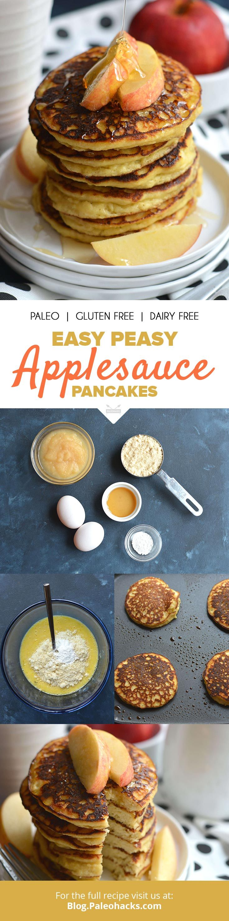 Start your day with a stack of fluffy applesauce pancakes made with only five ingredients! Get the recipe here: http://paleo.co/applesaucepancakes
