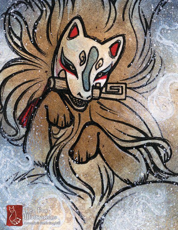 Ghost Fox / Kitsune Demon, Spirit, Fox Yokai / Japanese Style / 8.5x11 Fine Art Matte Print
