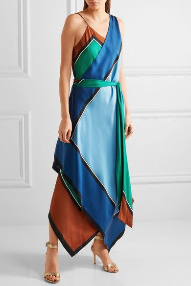 Multicolored silk  Slips on  Fabric1: 100% silk; fabric2: 82% polyester, 18% spandex  Dry clean