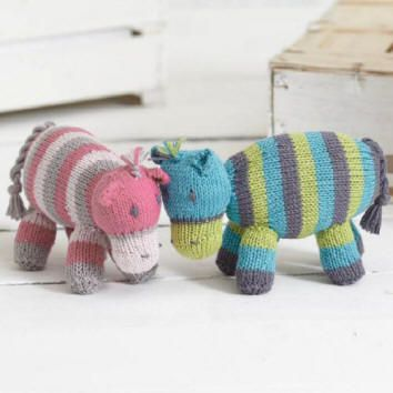 Part 5 of the free knit-along Noah's Ark patterns designed by Sue Jobson is Hatty and Hector Hippo.  They are made in Sirdar Baby Bamboo DK which is a wonderfully soft yarn with great stitch definition. You can download the pattern from the Sirdar website, our Sirdar Page or from our Baby Bamboo DK page. We have also noted which colours are used for each pattern.