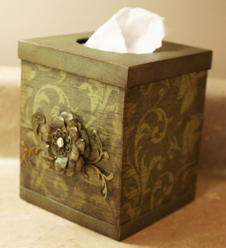 tissue box holder made with chipboard and 12x12 paper.