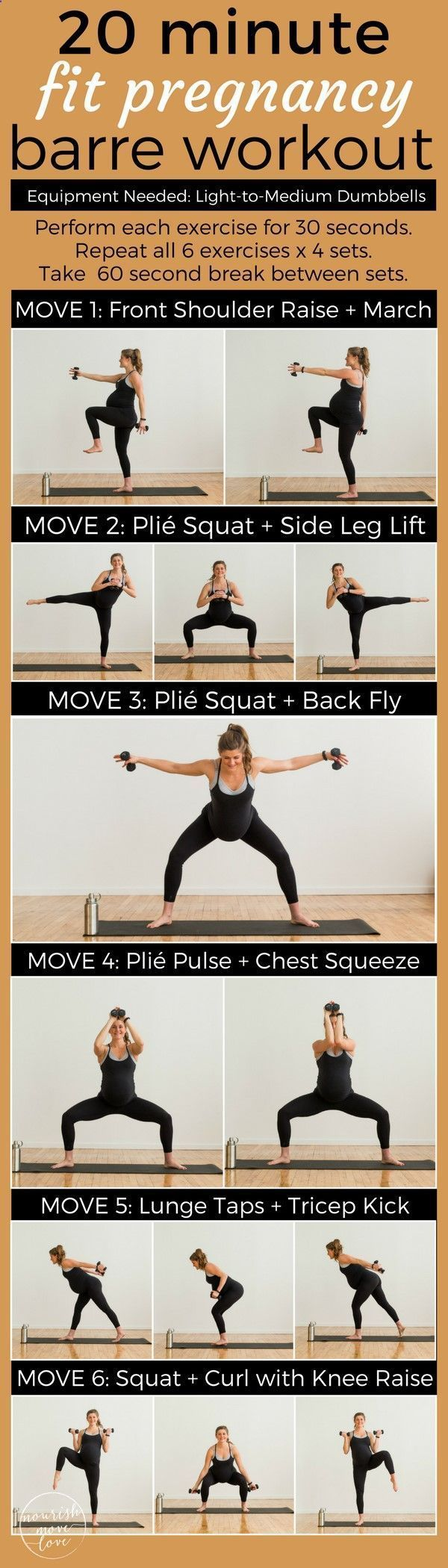 A low impact barre workout perfect for everyone; pregnant, postpartum, bad knees, or just need a low impact workout to sculpt and tone at home. A 20 minute workout thats easy on the knees but challenges your fitness. Combines traditional barre movements with strength training exercises to sculpt, tone, burn calories. Upper body, lower body, shoulders, squats, triceps, biceps, and booty work! #pregnantworkout