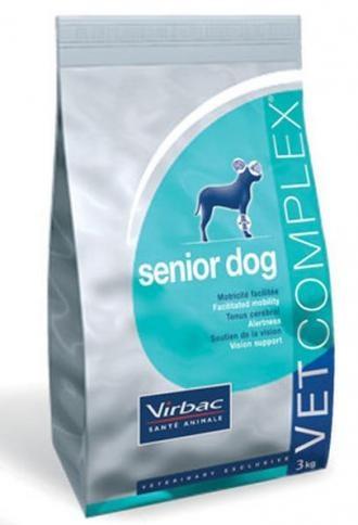Pienso para perros Virbac Vet complex senior dog. Pienso para perros: Pienso para perros Virbac Vet complex senior dog. Alimento / Comida para perros indicada para perros mayores de todas las razas y tamaños. Ingrediente principal: Carne de ave. En Petclic ahorras mas de un 35% en todas tus compras de piensos y alimentación para perros Todas las garantías. Toda la seguridad que necesitas y mas de 5.000 productos de alimentación rebajados. www.petclic.es