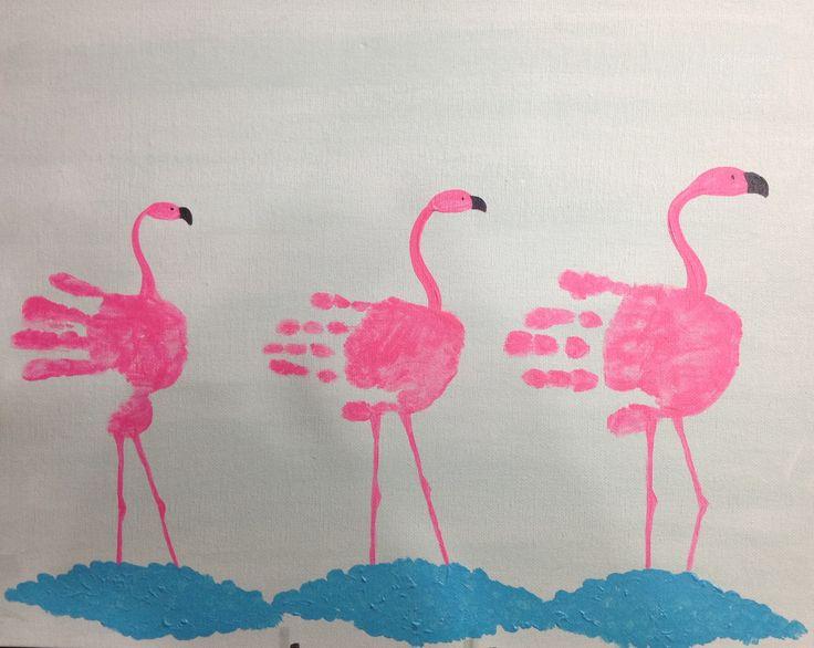Handprint Flamingos