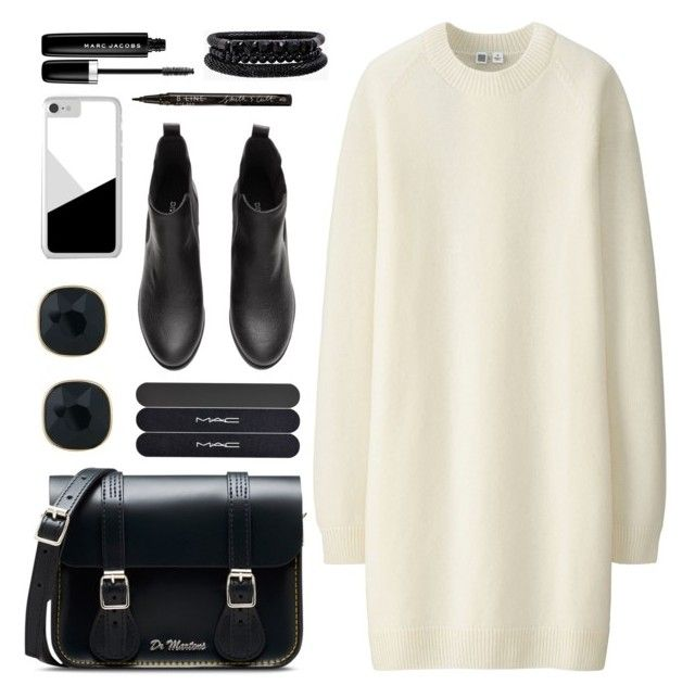 """OOTD - White Sweater Dress"" by by-jwp ❤ liked on Polyvore featuring Uniqlo, Dr. Martens, ABS by Allen Schwartz, Marc Jacobs, Smith & Cult, MAC Cosmetics and Spring Street"