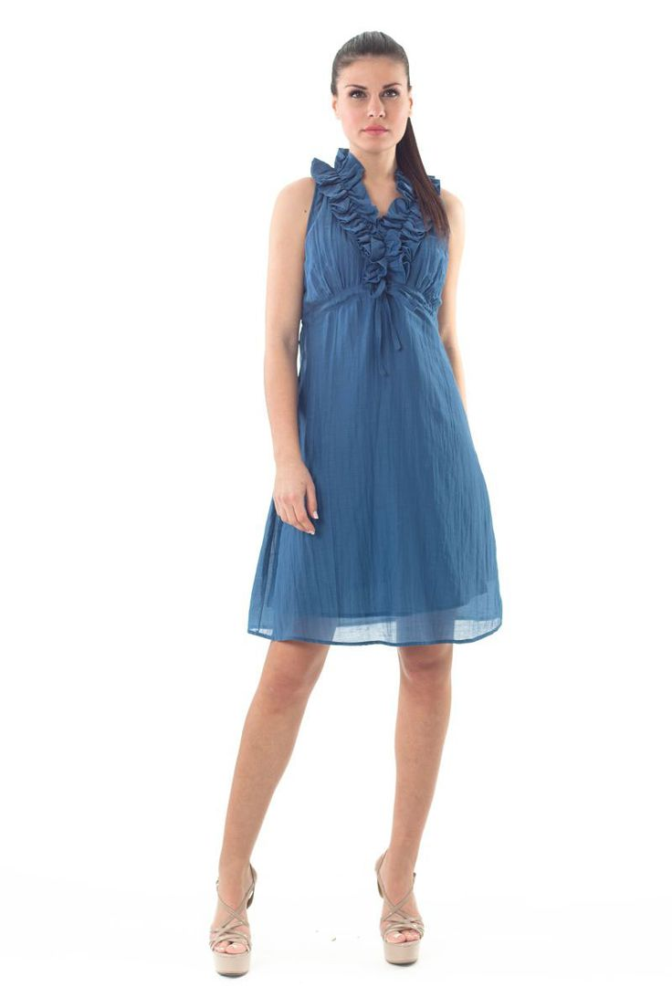 Ruffle Dress with stretch waistline for better fit, in a romantic raf color! shop the look in the link below. #raf #color #romantic #ruffle #dress #details