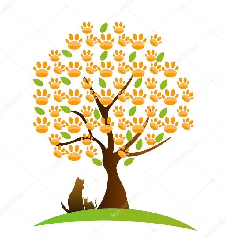 Descargar - Gato, perro y huella insignia de árbol — Ilustración de Stock #20247385