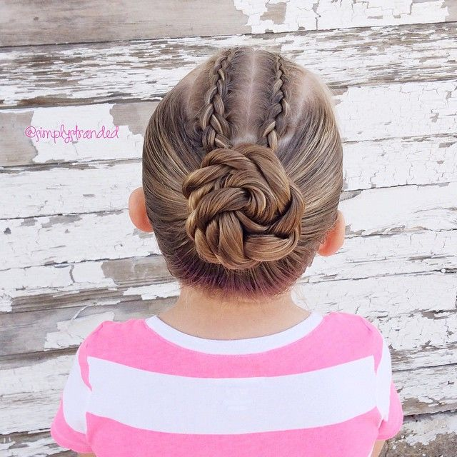 """Two dutch braids into a rope twist bun."