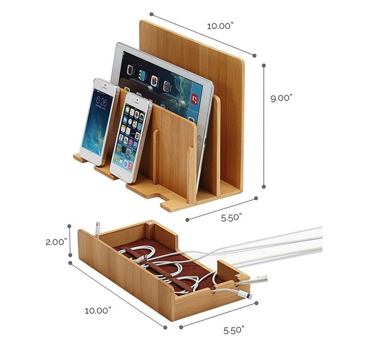 G.U.S. Multi-Device Charging Station Dock & Organizer - Multiple Finishes Available. For Laptops, Tablets, and Phones - Strong Build, Eco-Friendly Bamboo