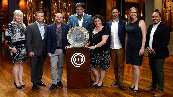 The judges and the past champions with the new MasterChef Australia trophy