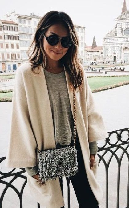fall street style. neutral cardigan.