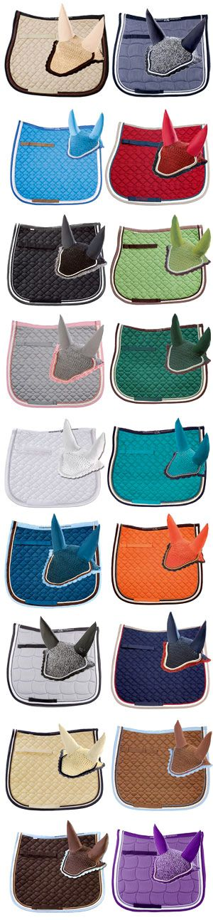 Horse saddle pads and fly bonnet sets