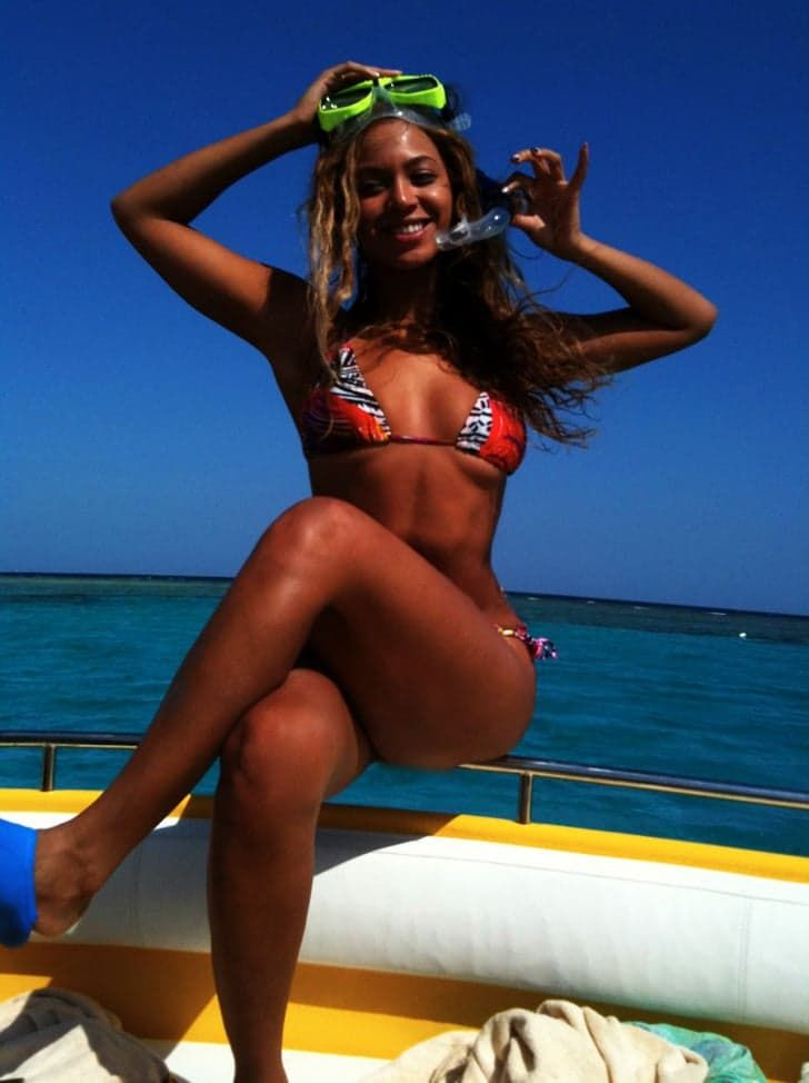 Pin for Later: The 23 Best Bikini Photos That Beyoncé Has Blessed Us With  One of the first snaps Beyoncé shared on her personal blog was of herself about to do some snorkeling in April 2012.