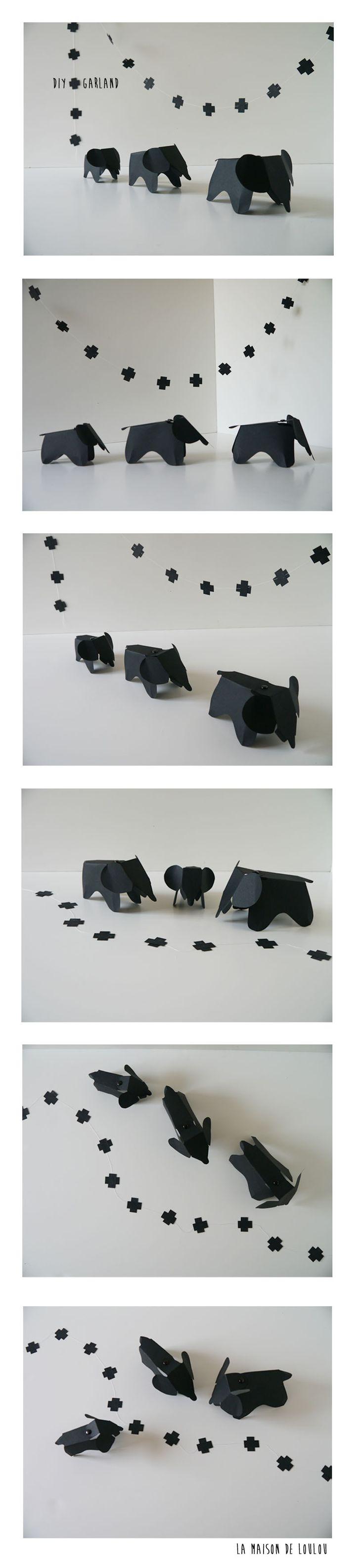 DIY cross garland by La maison de Loulou & free printable Eames paper elephant