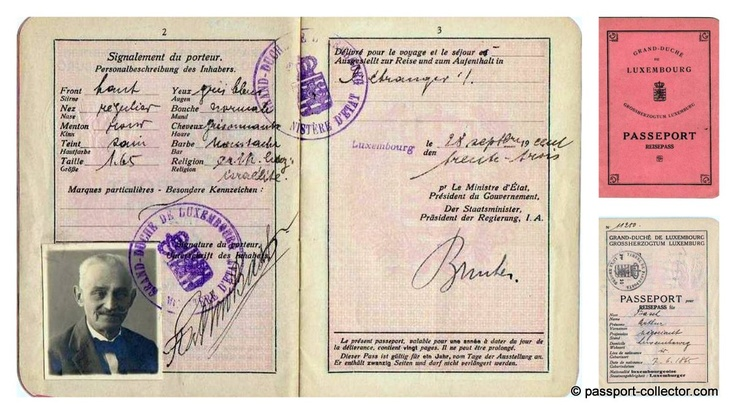 Old & rare Grand Duchy of Luxembourg passport 1933.