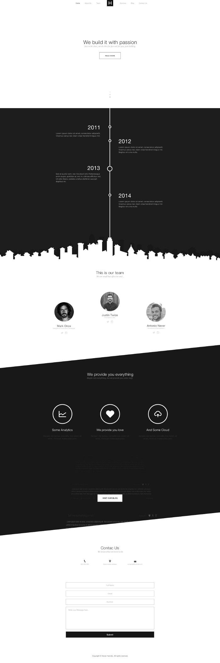 B&W Free Single Page Website by Kenan Hamidic | #singlepage #portfolio #psd