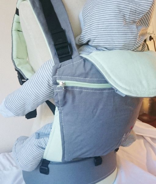 Organic dove grey and mint baby carrier