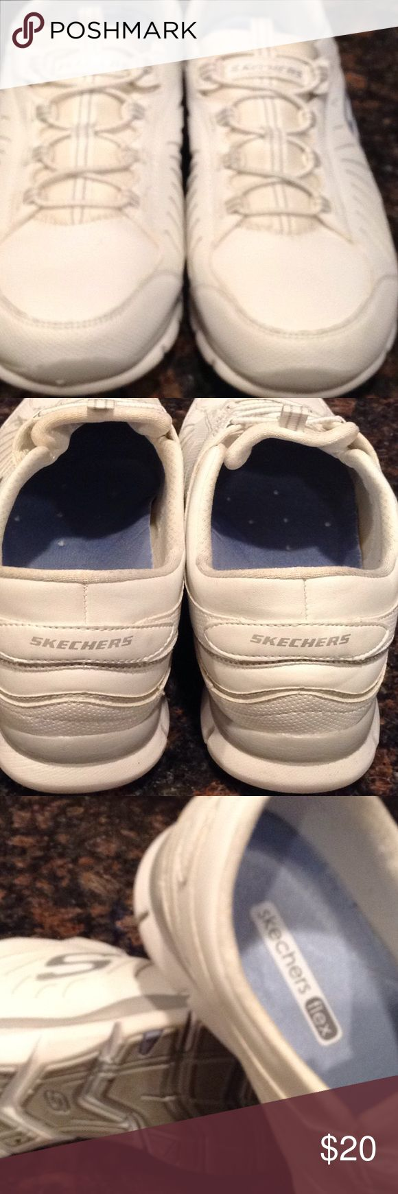 Skechers size 9 ladies Skechers flex, white, size 9 wore. 2X felt big on me. Great shape, clean Skechers Shoes Athletic Shoes