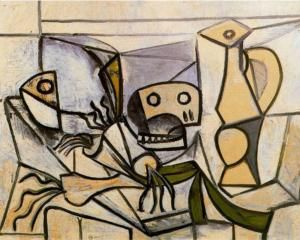 pablo picasso___leeks fish head skull and pitcher 1945