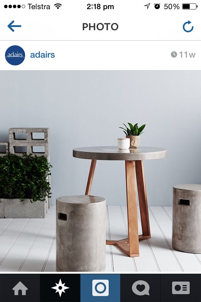 Adairs bathroom stool : grey concrete resin