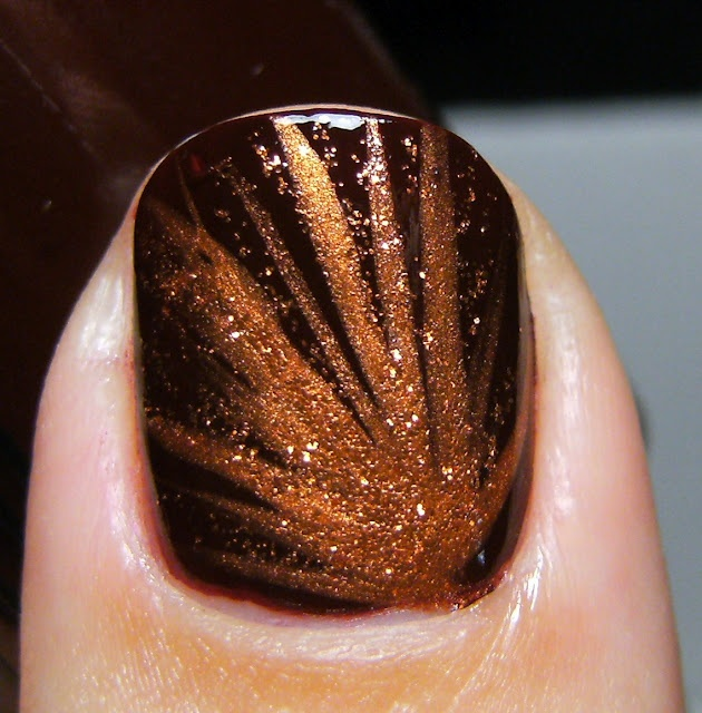 Sinful Colors 'Maghony' with StripRite copper nail stripers