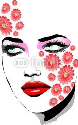 Ragazza Con Tatuaggi di Fiori-Girl with Flowers Tattoos-Vector © bluedarkat