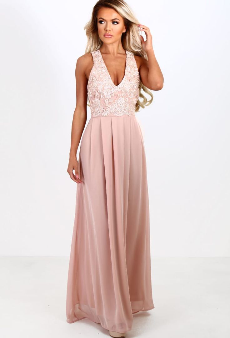 Champagne Kisses Nude Embroidered Chiffon Maxi Dress