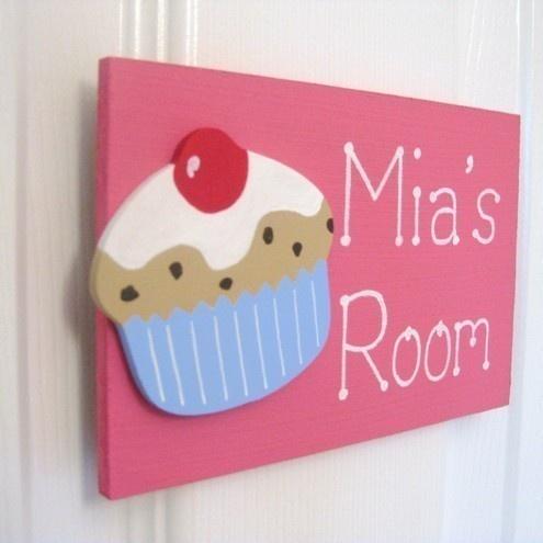 Personalised cupcake bedroom door plaque