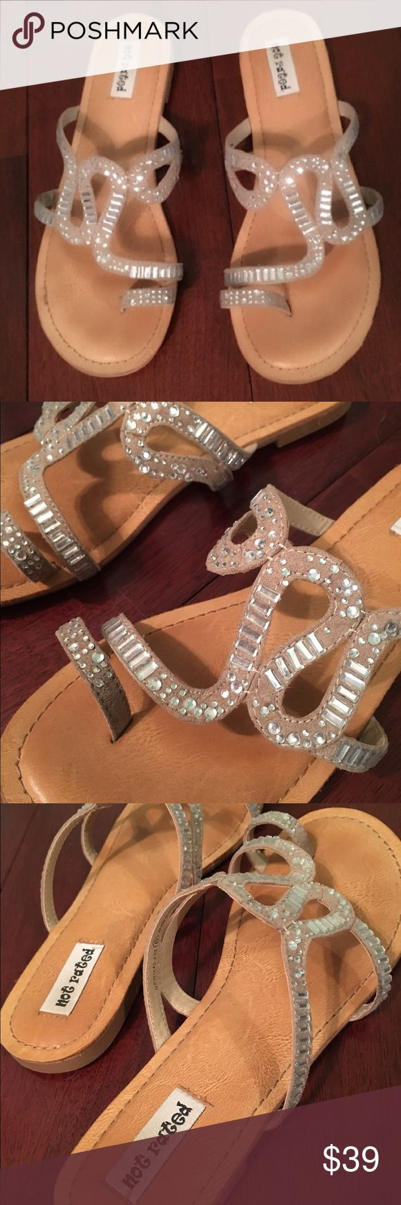 """Unique, sequined sandals ✨ Silver sequined sandals with a unique design!  I only wore these once.  They're really comfy and have no flaws or damage.  I can't find anywhere that says the size but they fit me well and I wear 5.5.  Brand is """"not rated"""".  I got these from Journeys Not Rated Shoes Sandals"""