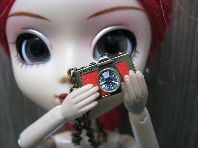 Red Doll camera necklace pendant charm for Blythe, Pullip, Dal, Monster High Dolls, BJD, Barbie etc.  by finasma.
