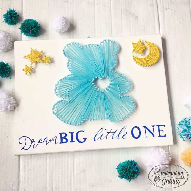 Dream big Little one quote / bear string art / cute decoration for nursery  (fb: www.facebook.com/atelierulluighidus)