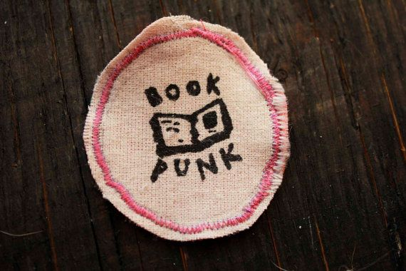 Pink and White BOOK PUNK BADGE