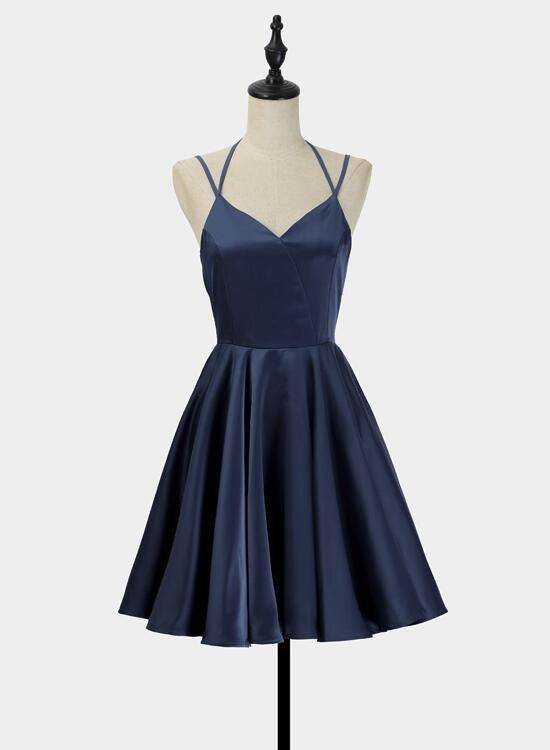 Einfache V-Ausschnitt kurze Träger Neckholder Homecoming Kleider, Teen Kleid 2018, Sommer