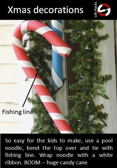 Pool Noodle Candy Canes Christmas Yard Decorations