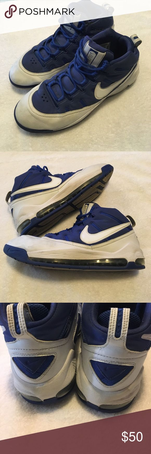 Nike Mid High Top Athletic Elite Basketball Shoes A great pair of Nike Elites for basketball or casual everyday wear. Leather with a white and blue color combo. Some signs of wear- scuffs and by up of shoes laces. Shown in photos! Nike Shoes Athletic Shoes