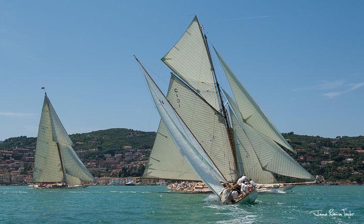 2 Fife yacht Mariquita and Cambria sail past Porto Santo Stefano.   Photo by James Robinson Taylor
