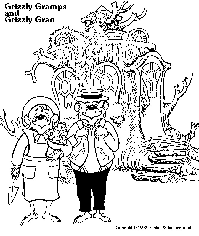 grizzly gramps and grizzly gran colouring in page