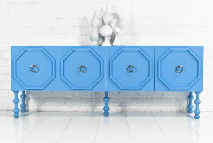 John Bernard/ModShop by RoomService Monte Carlo Tall Boy Credenza in Nova Scotia Blue | $2,795