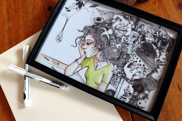 """Voici ce que je viens d'ajouter dans ma boutique #etsy : REPRODUCTION d'art, Fantastic/Féerique Art, Impression sur papier, cadeau art déco, format A4 """"Mille&une pensées : La page blanche"""" http://etsy.me/2HGFq2N #art #dessin #têtepleine #anniversaire #image #aquarelle"""