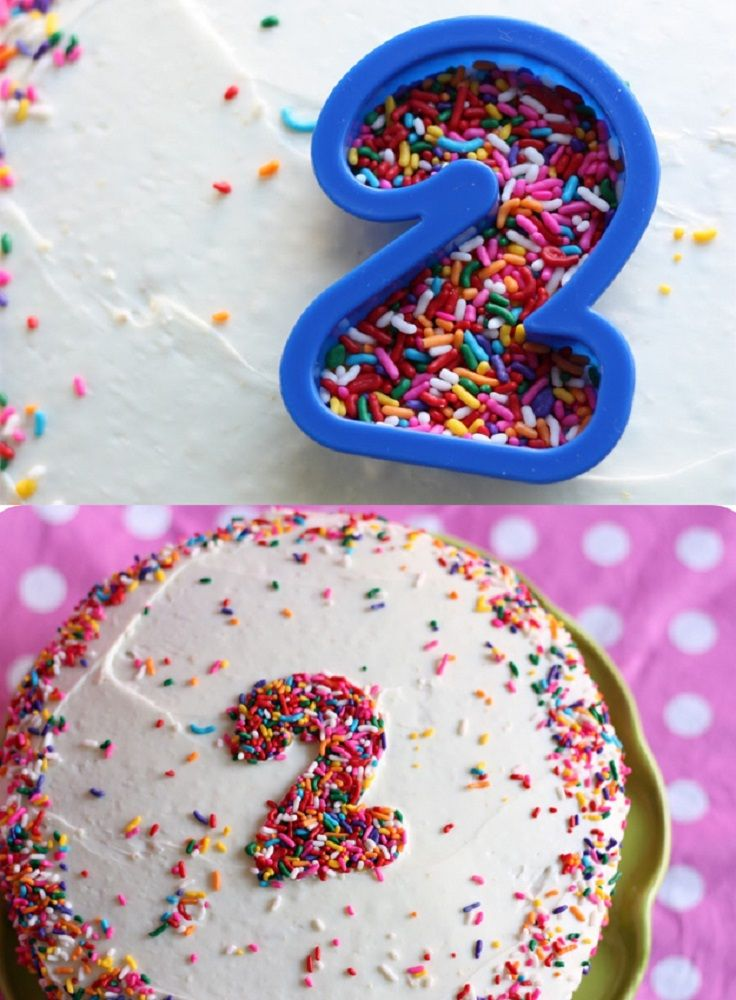Use A Cookie Cutter To Make A Number Out of s Sprinkles - 17 Amazing Cake Decorating Ideas, Tips and Tricks That'll Make You A Pro