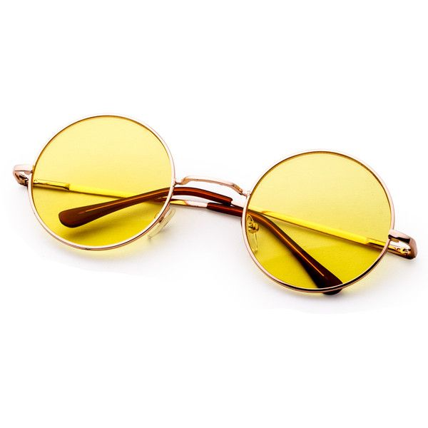 e731587f27 SheIn(sheinside) Metal Frame Yellow Round Lens Retro Style Sunglasses ( 6)  ❤ liked on Polyvore featuring accessories