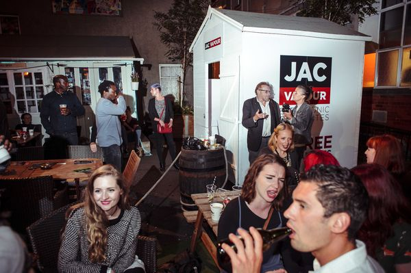 JAC in the BOX!!! looking great at #summerhall courtyard where we courted smokers #ecigs