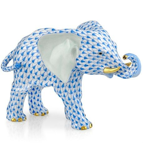 Herend Elephant with Trunk to Side (Assorted Colors) - $710.00