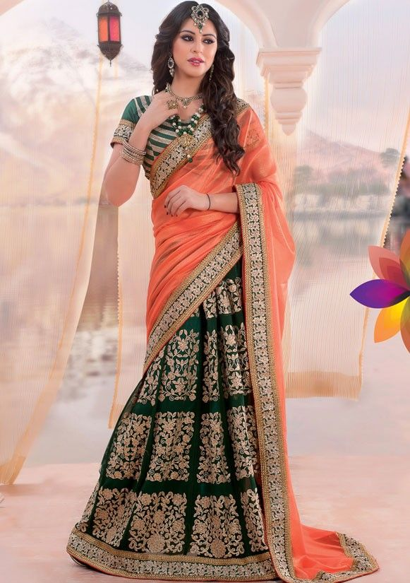 Pictorial Pine Green and Salmon Lehenga Saree