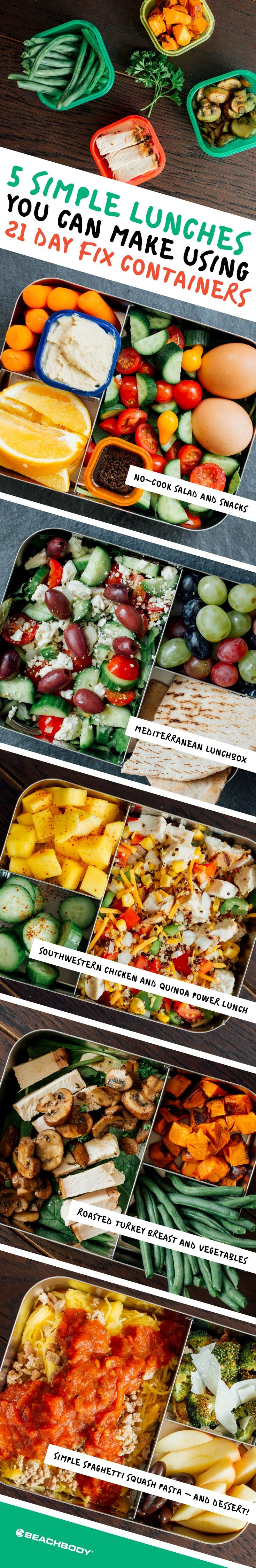 It's lunchtime! These lunches show exactly how you can build a balanced meal in no time using 21 Day Fix containers. They use a combination of raw and easy-to-cook ingredients that make meal prep fast. // meal prep // meal plan // meal planning // bento box // healthy eating // eat clean // clean eating // fresh food // lunch // lunchtime // snacks // Beachbody // Beachbody.com