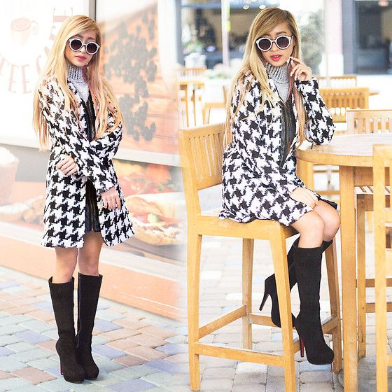 Sheinside Black White Houndstooth Round Neck Tweed Coat, Motel Verona Turtleneck Cropped Sweater In Grey, Mart Of China Knee High Boots, Quay Glomesh