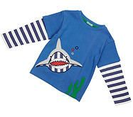 Blue boys top with stripey layered sleeves featuring fabulous applique under-the-sea shark! 100% Organic Cotton Machine washable